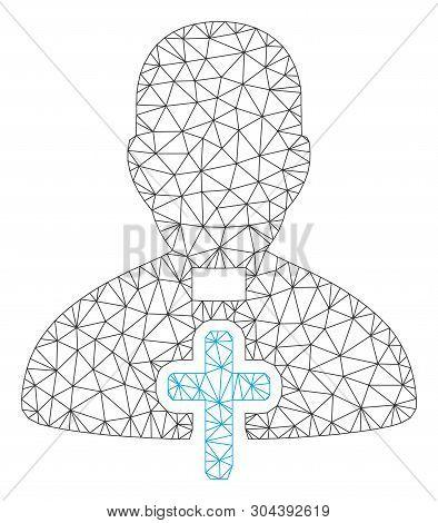 Mesh Catholic Priest Polygonal Icon Vector Illustration. Model Is Created From Catholic Priest Flat