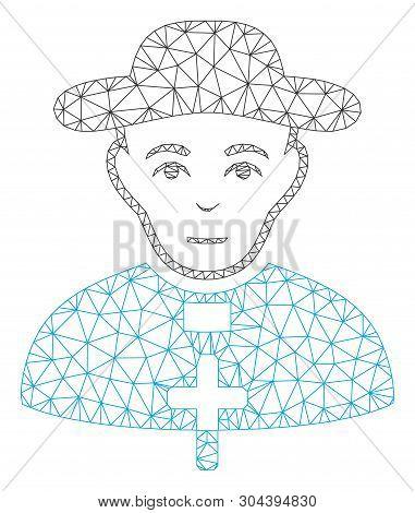 Mesh Catholic Shepherd Polygonal 2d Vector Illustration. Carcass Model Is Based On Catholic Shepherd