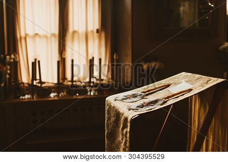 Wedding Decoration In The Orthodoxy Church, Candles For Ceremony, Gold, Mystery, Selective Focus.