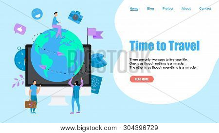 Webpage Template. Concept Of Time To Travel. Planet Earth For Travel Flat Design Concept With Two Ai
