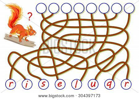 Logic Puzzle Game For Study English. Find The Correct Places For Letters, Write Them In Relevant Cir