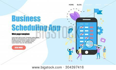 Webpage Template. Flat Design Business Scheduling App On Laptop Computer With Events, Reminders And