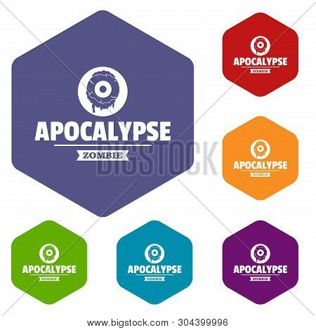 Zombie Terror Icons Vector Colorful Hexahedron Set Collection Isolated On White