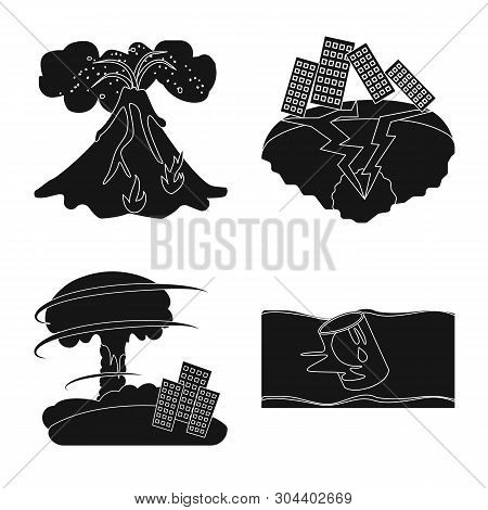 Vector Illustration Of Calamity And Crash Sign. Collection Of Calamity And Disaster Stock Symbol For