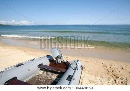 Inflatable boat on seacoast