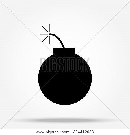 Bomb Icon, Vector Illustration. Flat Design Style. Vector Bomb Icon Illustration Isolated On White B
