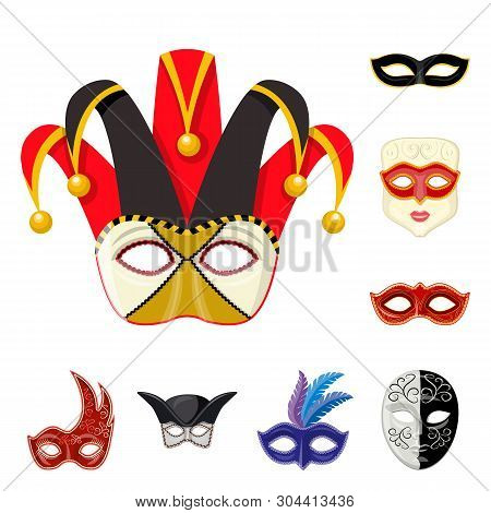 Vector design of carnival and theatrical symbol. Set of carnival and mystery stock vector illustration. poster