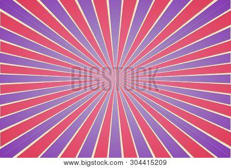 Retro Illustration Vector Background, Old Paper Vintage Rays Of Sunshine Red And Blue Burst