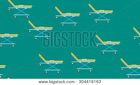 Seamless Pattern Texture Of Endless Recurring Medical Beds With Wheels, Gurney From Emergency Hospit