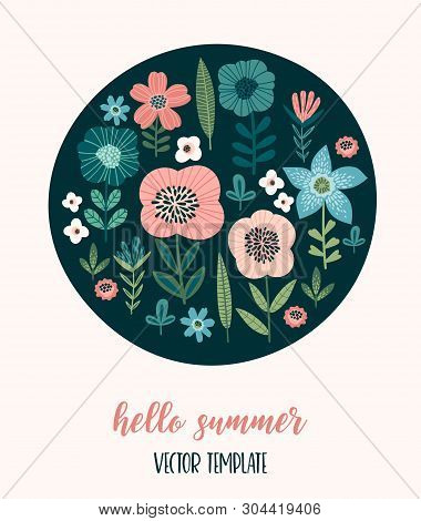 Vector Floral Design. Template For Card, Poster, Flyer, T-shirt, Home D Cor And Other Use.