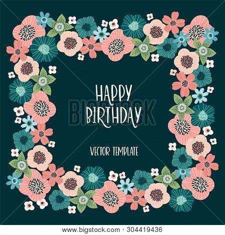 Vector floral design with cute flowers. Template for card, poster, flyer, home d cor poster