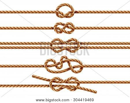 Set Of Isolated Ropes With Different Knot Types. Nautical Thread Or Cord With Sheet Bend And Overhan