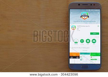 Bekasi, West Java, Indonesia. June 3, 2019 : Espn Fantasy Sports Dev Application On Smartphone Scree