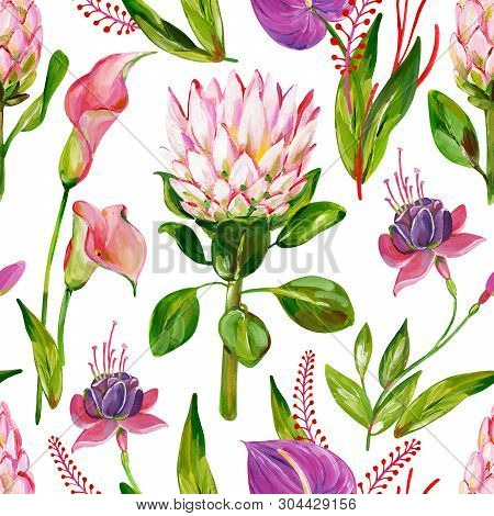 Gouache Seamless Exotic Floral Pattern With Protea, Calla, Anthurium And Fuchsia Flower