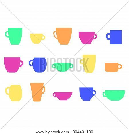 Set On White Background. Retro Style. Symbol Collection. Coffee Cup Flat Icon. Coffee Mug Vector. Te