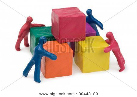 Business teamwork - collective problem solving. Plasticine. Isolated. poster