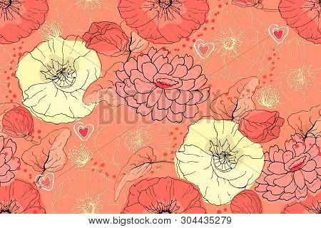 Art Floral Vector Seamless Pattern. Coral And Light Yellow Flowers With Little Red Hearts. Isolated