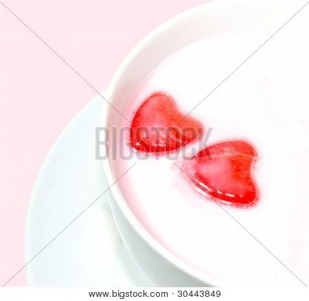 Red Love Hearts In Milk