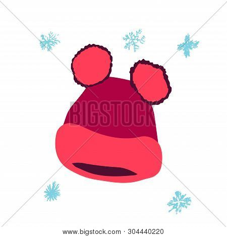 Winter Headwear. Bright Pink Trendy Beanie With Two Pompoms Isolated On White Background. Poster Des
