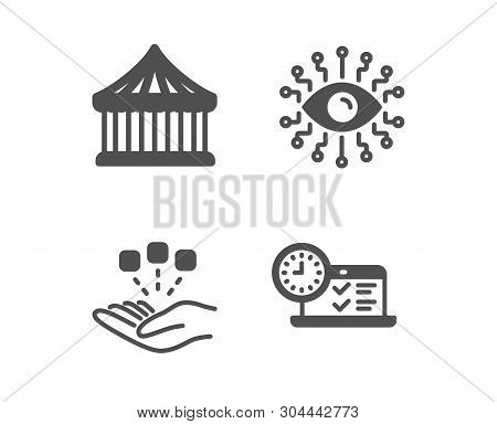 Set Of Consolidation, Carousels And Artificial Intelligence Icons. Online Test Sign. Strategy, Attra