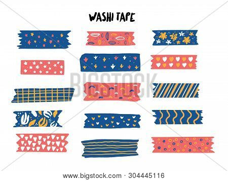 Modern Washi Tape Set With Different Patterns. Scrapbooking Collection, Border Banners Isolated On W