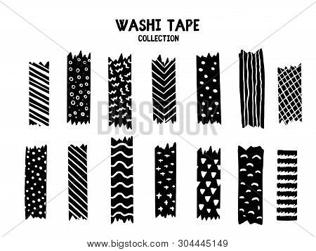 Modern Washi Tape Set With Different Patterns, Black And White Design. Scrapbooking Collection, Bord