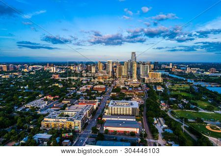 Austin Texas Sunset Blue Hour Aerial Drone View Of The Growing Cityscape Of The Capital City Of Texa