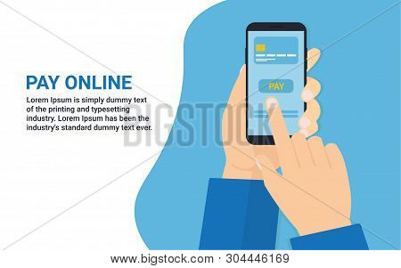 Pay With Card Online Flat Design Concept With Man Hand Holding A Phone With Payment Button On Screen