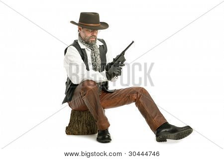Man dressed as a retro style with a Mauser sitting on the log.