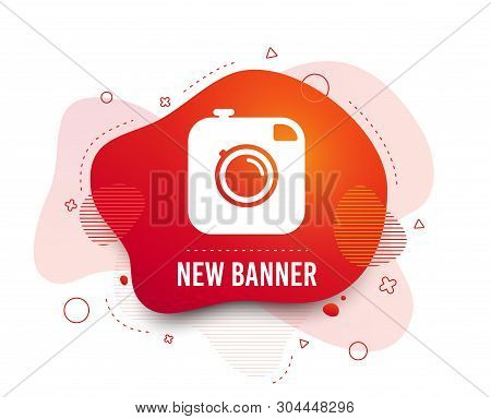 Fluid Badge. Hipster Photo Camera Sign Icon. Retro Camera Symbol. Abstract Shape. Gradient Photo Ico