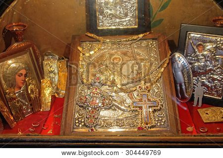 Cairo, Egypt - March 01, 2010: Famous Relics At Saint George Greek Orthodox Church In Cairo, Egypt.