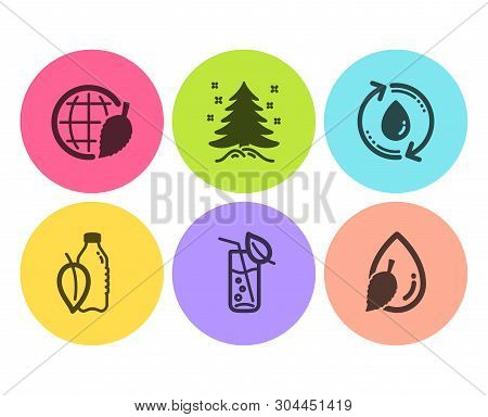 Refill Water, Water Glass And Christmas Tree Icons Simple Set. Environment Day Sign. Recycle Aqua, S