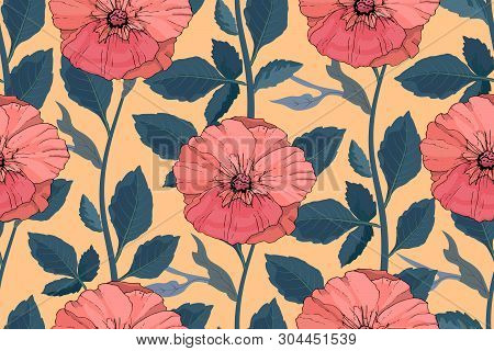 Art Floral Vector Seamless Pattern. Beautiful Vector Summer Flowers. Coral Color Mallows On Light Or