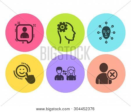 People Communication, Face Biometrics And Smile Icons Simple Set. Engineering, Developers Chat And D