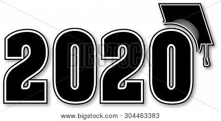 Graduating Class Of 2020 Black And White Numbers With Cap
