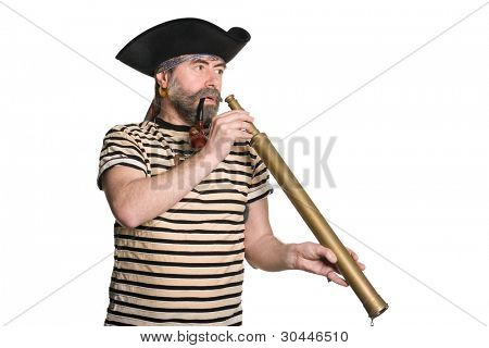 Pirate holds a telescope and smokes a pipe. Isolated on white.