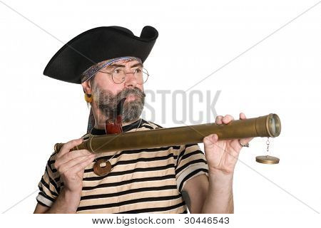 Pirate holds a telescope and smokes a pipe.