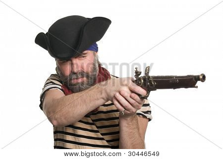 Bearded pirate in tricorn hat with a musket.