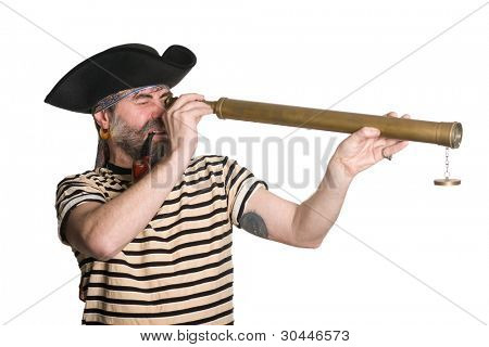 Pirate looks through a telescope and smokes a pipe.  Isolated on white.