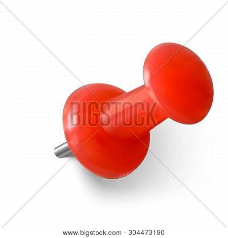 Realistic Red Paperclip. Red Push Pin. Needle For Fixation Memo On Board. Vector Illustration Isolat