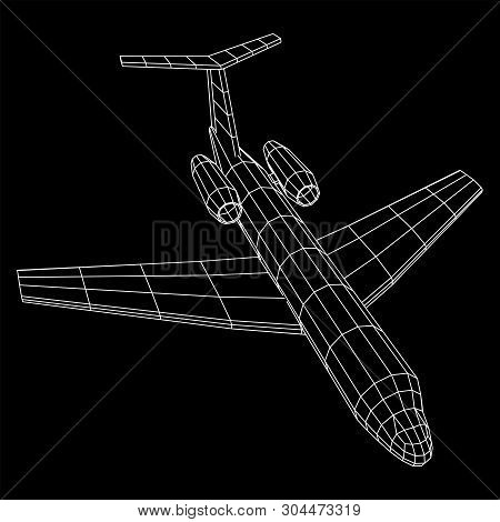 Private Jet Plane Abstract Polygonal Wireframe Business Luxury Twin Engine Airplane. Travel Aircraft