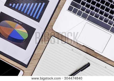 Flat Lay Office Desk Table Of Modern Workplace With Laptop On Red Table, Top View Laptop Background