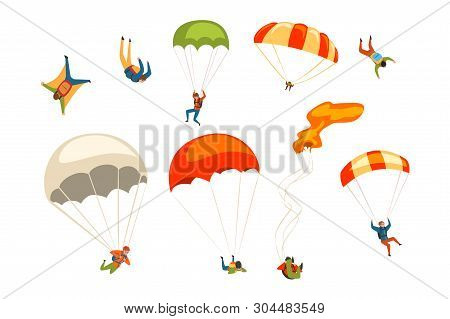 Skydivers Flying With Parachutes Set, Extreme Parachuting Sport And Skydiving Concept Vector Illustr