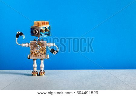 Mechanical Robot Cheerful Face, Cogs Wheels Machine Parts Body. Creative Design Robotic Toy On Blue