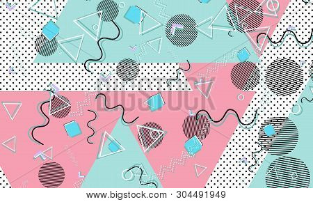 Abstract Dots Background. Memphis Pattern. Vector Illustration. Hipster Style 80s-90s Pattern. Abstr