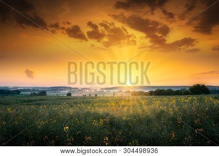 Sunrise And Farmland