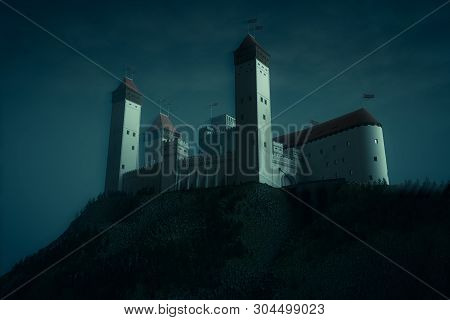 High Medieval Castle Standing On To Top Of Rock. Moonlight Atmosphere, Night Scene. 3d Render Illust