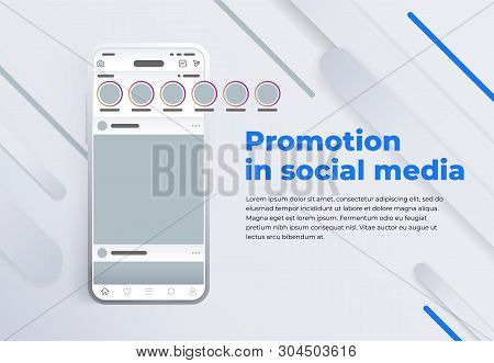 News Feed In A Social Network In The Form Of A Grid. Promotion In Social Media. Smartphone With Soci