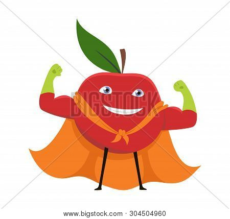 Cartoon Superhero Character Red Apple Vegetarian Superpower Concept Element Flat Design Style. Vecto