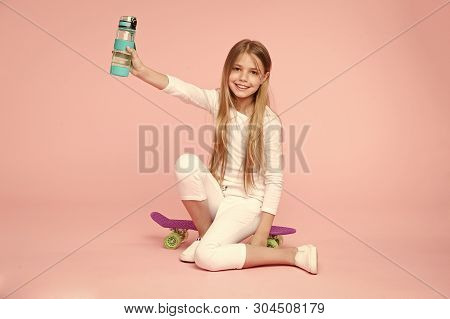 Kid Girl Care Body Hydration. Active Leisure And Water Balance. Active And Healthy Kid Drink Water.